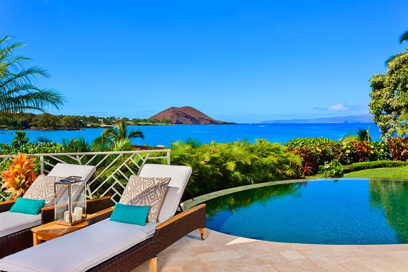Your View From Coral Gardens Makena Looking Towards Makena Bay, Maluaka Beach, Big Beach. Poolside Chaise Lounges and Spectacular Ocean Views! - Coral Gardens at Makena Bay - Wailea - rentals