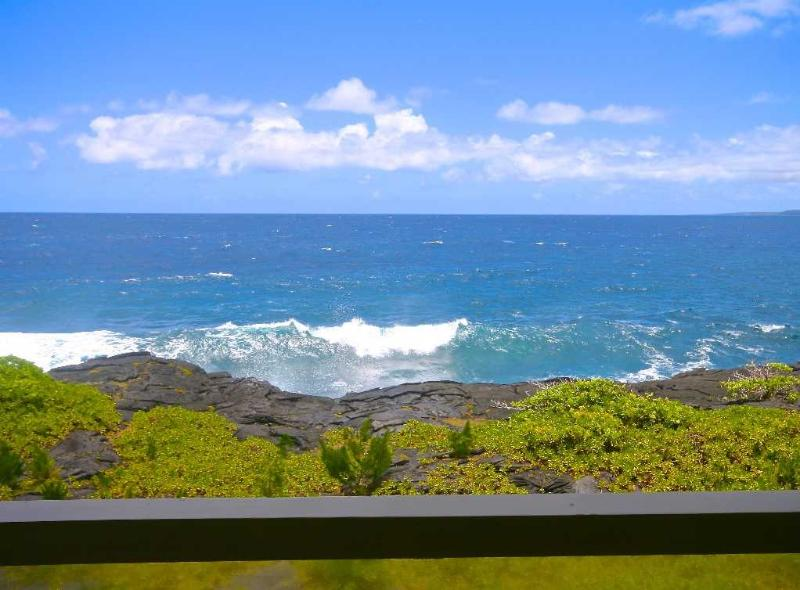 Stunning ocean views while dining or lounging from our wraparound lanai. - Whale House in Hilo, Hawaii - Keaau - rentals
