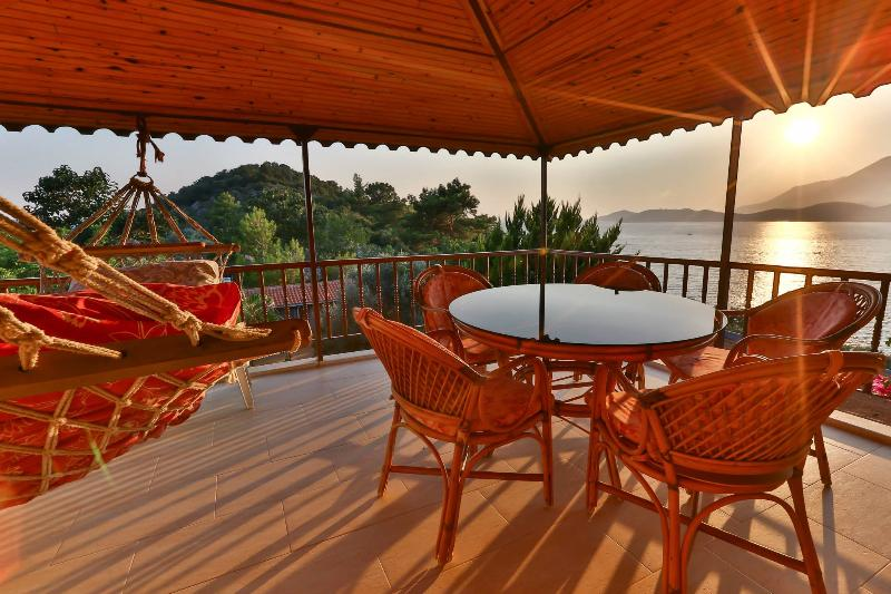 Sunset and Sea view from the balcony - Best Sea & Sunset View,  2 bedroom Kas holiday apartment with swimming pool - Kas - rentals