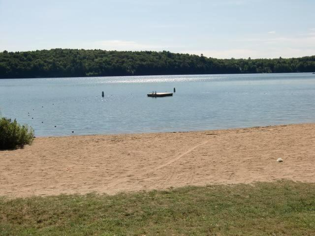 Our beach and dock.  Playscape is just out of picture to the right. - New Hampshire Eastman Resort Mountain / Lake Home - Grantham - rentals