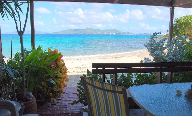 "View from the private patio directly ON Sapphire Beach - ""THREE PALMS"" ~Beachfront Condo ON Sapphire Beach - Saint Thomas - rentals"