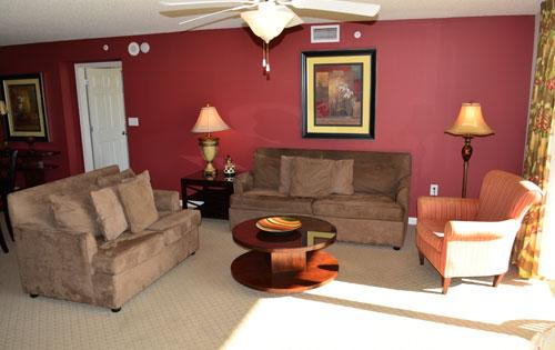 Plenty of seating and balcony access in living room - Giant luxury 4BR @ Yacht Club 1-204, huge pool! - North Myrtle Beach - rentals