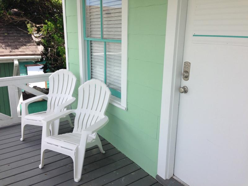Front porch overlooks courtyard and a view to downtown Galveston - Garage Apartment, East End 600' from the water - Galveston - rentals