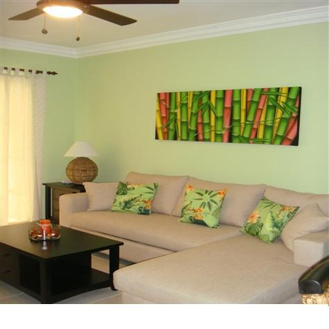 Living Room with Ceiling Fan - PALM SUITES -  Delightful & Comfortable 1BR Condo - Bavaro - rentals