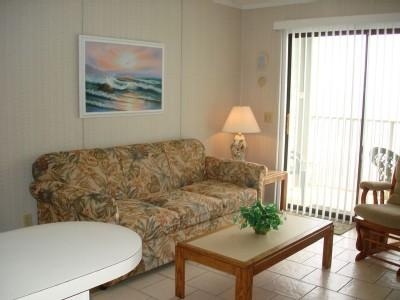 Living room with sleeper sofa - BEAUTIFUL VIEWS! MB RESORT, POOLS/WIFI - A402 1BR - Myrtle Beach - rentals