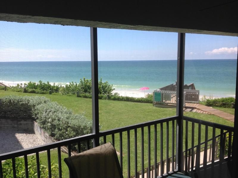 Direct Gulf front, View from screened in lanai - Spectacular Gulf Front Condo, 30 Feet to the beach, 2 Bedroom, 2 Bath, La Coquina Complex - Englewood - rentals