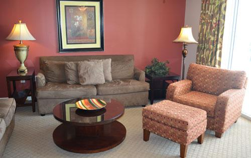 Living room with balcony access - Beautiful 4BR Yacht Club, huge pool/WiFi, 3-404 - North Myrtle Beach - rentals