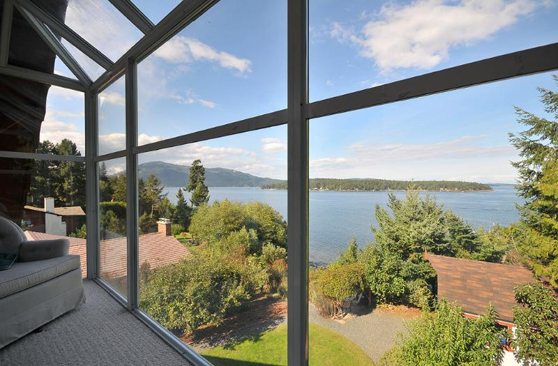 View from the lofted master bedroom - Unique 3 Bedroom Sidney Area Ocean Front Home with Beach Access - British Columbia - rentals