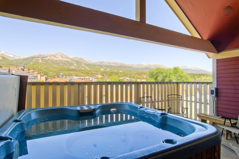 One of the best features of Four Peaks is the view of all ski area peaks from the hot tub. - Massive Victorian-era home with panoramic mountain view, walk to Main St., walk to lifts - Four Peaks - Breckenridge - rentals