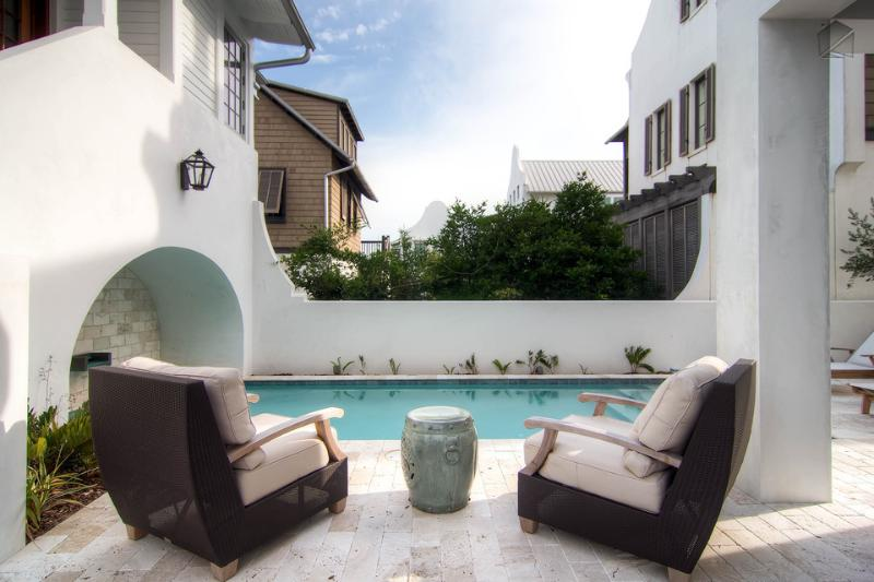 Enjoy the tranquility of a private pool which is now gated child safety and plenty of outdoor seating. - Stylish modern home in the heart of Rosemary Beach with its own pool and amazing views from the balcony! - New Providence Main House - Rosemary Beach - rentals