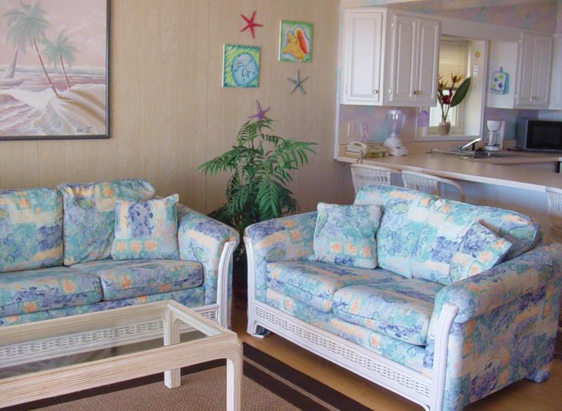 Living room - Beautiful Oceanfront w/ beach access from balcony - Ocean City - rentals
