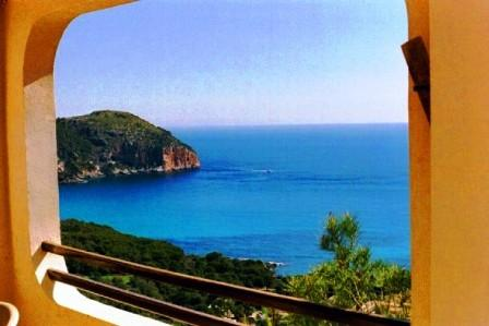 View over the bay to Cap Vermell and Menorca - Golf and Sports Villa Cypressa - on request only - Cala Ferrera - rentals