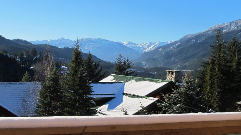 View out to the Callaghan Valley from the deck - 4 BR Ski In Ski Out with Spectacular Mountain View - Whistler - rentals