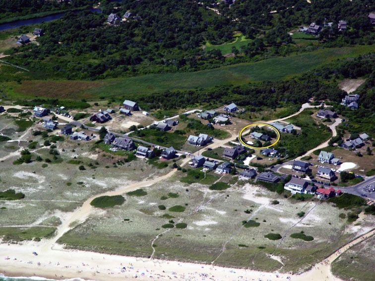 Surfside from the Air, Cottage circled - Walk barefoot to the best beach on Nantucket - Nantucket - rentals