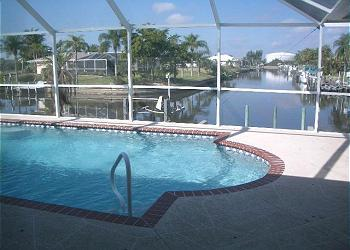 Pool (and spa) with canal view - Waterfront Villa Marie @ Cape Coral, FL - Cape Coral - rentals