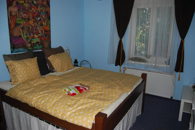 Bedroom with Large Handmade Wooden Bed - Cosy Flat near River Podoli Prague 4 - Prague - rentals