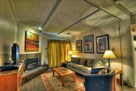 Remodeled Living Area with fireplace , flat screen TV and balcony - Rockies 2407 - Steamboat Springs - rentals
