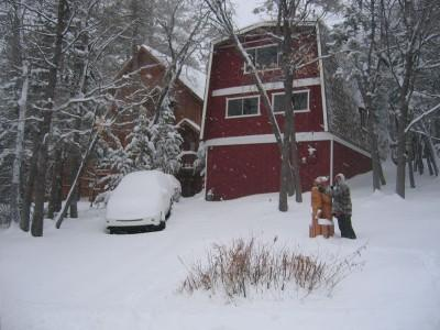 Front of Cabin in Winter - Celebrate May and Memorial Day at Bear Chalet - Big Bear Lake - rentals