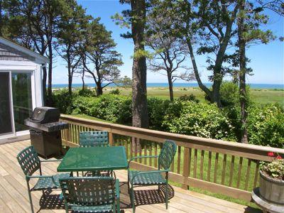 Chill, grill and enjoy the 180-degree vista of the East Brewster marshes, Crosby Landing Beach and sunsets over Cape Cod Bay. - Stunning Bay Views, Walk to Crosby Lndg Bch--120-B - Brewster - rentals