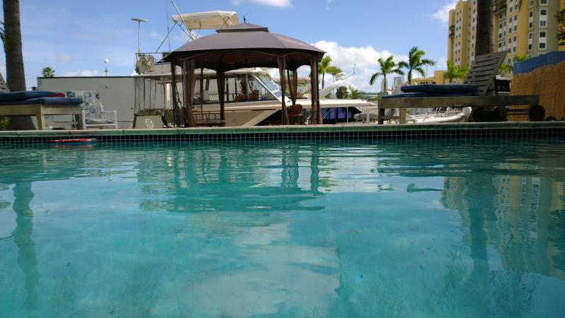 from House looking towards boat - Waterfront Design pool house 3/2 near Miami Beach - Miami Beach - rentals