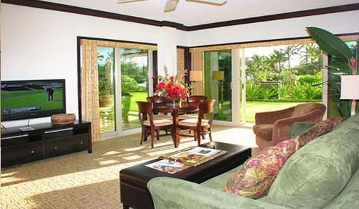 Living Room Panoramic Garden View - Waipouli Beach Resort E105 - Kapaa - rentals