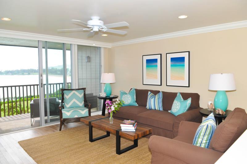Living room with ocean view - Brand New Luxury Oceanfront Condo - Kapaa - rentals