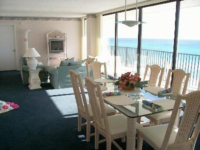 Large comfortable, living dining area - Irresistible 2Br 60' OF GLASS! Gulf Frt  Beach Set - Panama City Beach - rentals