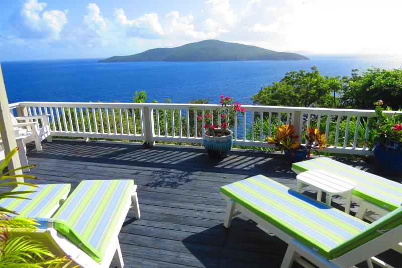 Pool Deck looking to Atlantic Ocean - St. Thomas USVI 3 bedroom plus Cottage Villa - Peterborg - rentals