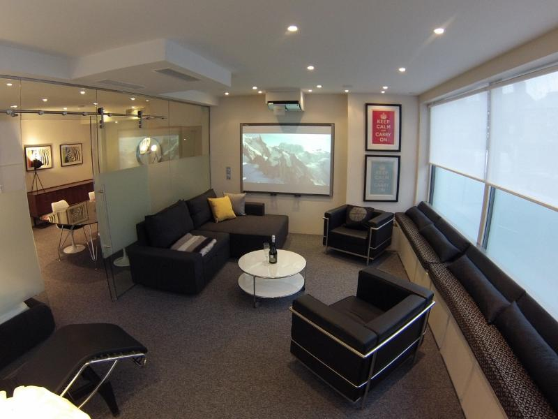 LondonRiversideFlat -- Livingroom with cinema screen and fold out bed - London Riverside Apartment Rental - London - rentals