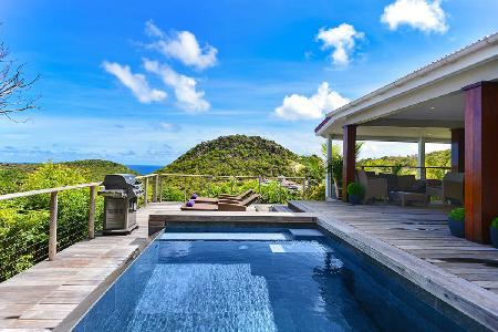 Renovated villa Lenalee boasts hillside and ocean views with pool and covered terrace - Image 1 - Flamands - rentals