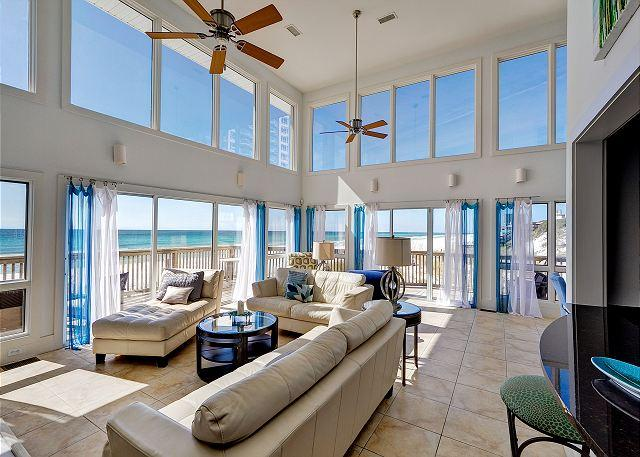 Living Room w/ Vaulted Ceilings - GULF FRONT LUXURY HOME, PRIVATE BEACH! $ 250.00 OFF NOW, 3 NIGHT MIN - Miramar Beach - rentals