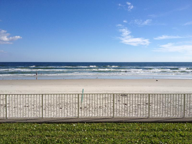 View reading from the patio! - Recently Renovated Beautiful Beachfront Condo - New Smyrna Beach - rentals