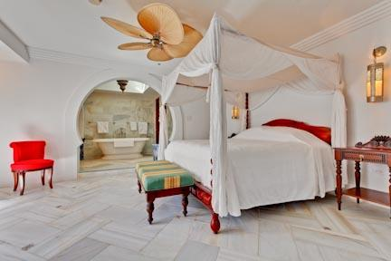 Master Bedroom with a king size canopy bed - Beach Front Suite at The Horned Dorset Primavera - Rincon - rentals