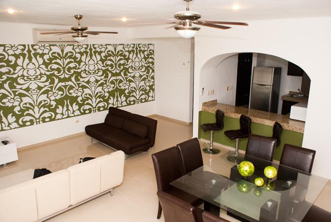 Sala y Comedor - Apartment 6 ppl at 50 meters from the beach! - Playa del Carmen - rentals
