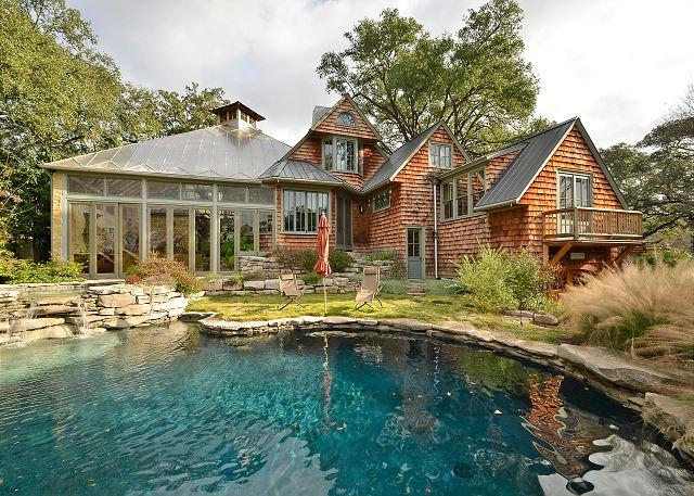 Backside - 3BR Architectural Oasis w/private pool by Lake Austin - Austin - rentals