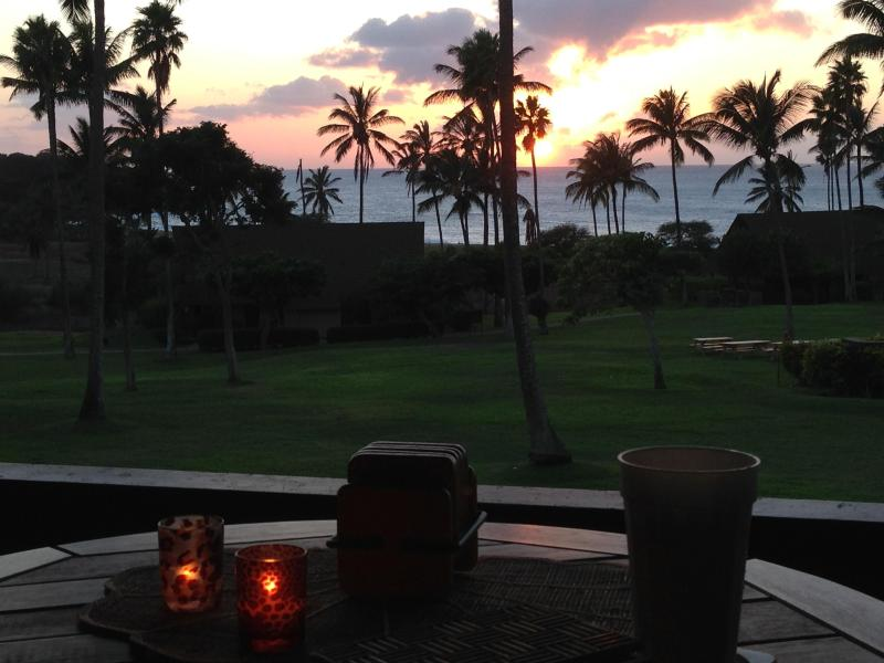 sunset view from studio - Kepuhi Beach, West Molokai 2nd floor studio condo - Maunaloa - rentals