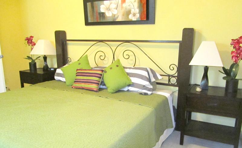 Master bedroom with King Bed, AC, Ceiling fans and private bathroom - BK Villas Two Bedroom close to the sea - Maxwell - rentals