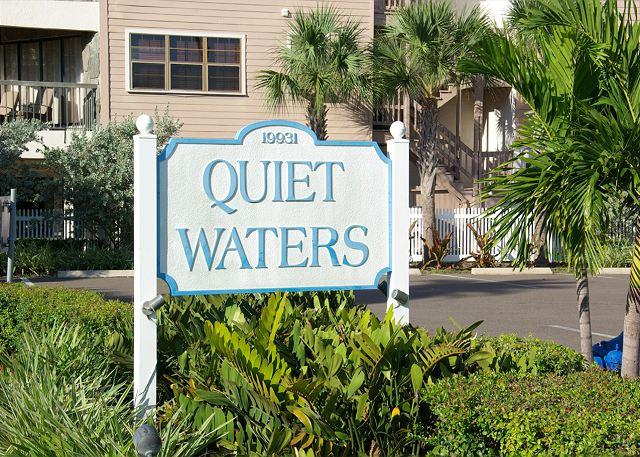 """Quiet Waters"" street sign on Gulf Blvd. - Direct Intracoastal Unit, Private Beach Access, Heated Pool, Hot Tub! - Indian Shores - rentals"