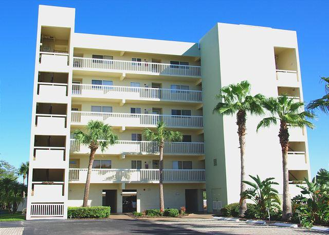 """Water View"" exterior front of building - Great Intracoastal Condo with Private Beach Access - Indian Shores - rentals"