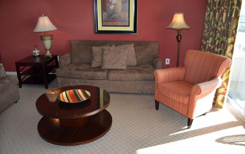 Living room with balcony access - Yacht Club 3BR pristine condo, on the water! 2-401 - North Myrtle Beach - rentals