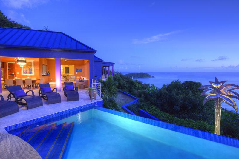 Dramatic evenings by the pool - Large & Luxurious St. John Villa - Mare Blu - Virgin Islands National Park - rentals