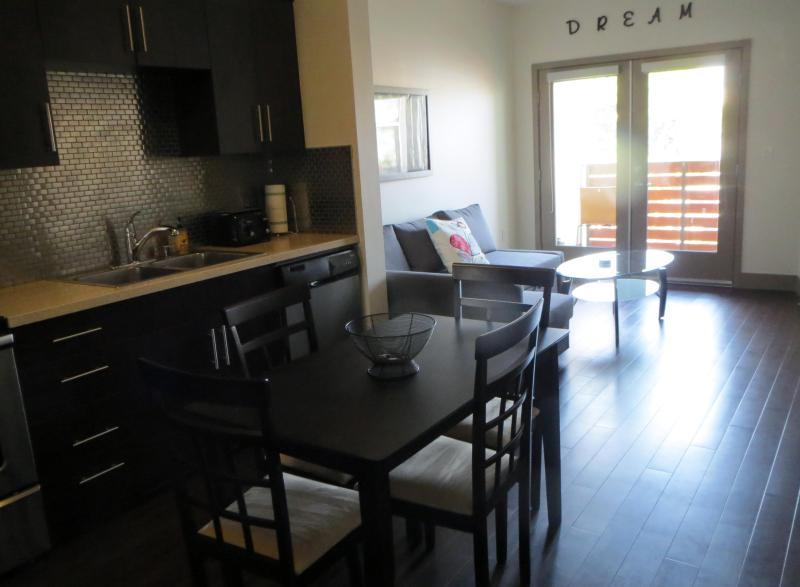 Kitchen, Dining and Living - Luxury 1-Bedroom with Balcony and Pool - West Hollywood - rentals