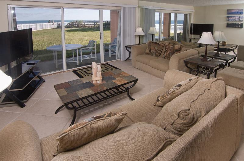 "Living room with oceanfront view and new 50"" HD LED plasma TV - Oceanfront...Ground Floor...Amazing Ocean Views - Satellite Beach - rentals"