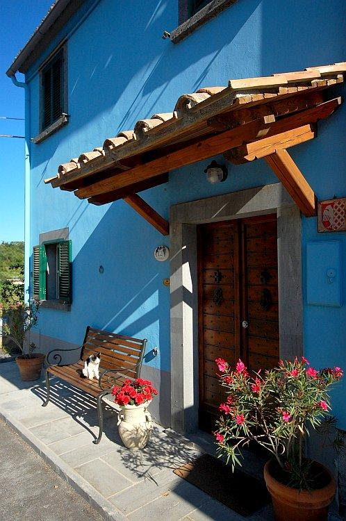 Main entrance to blue house - Blue House in the Tuscia area - Roccalvecce - rentals
