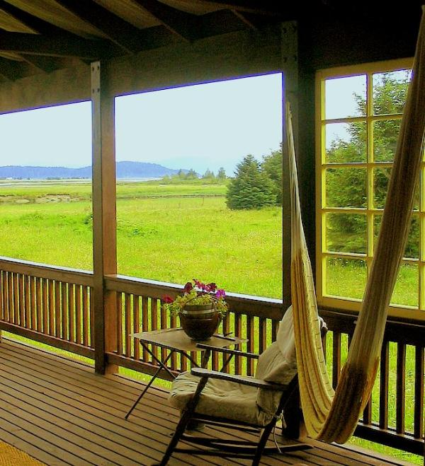 deck view - Spacious comfort surrounded by  river meadows - Gustavus - rentals