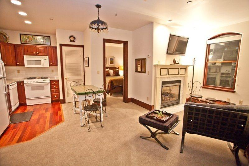 Main Room - Open Floor Plan - Living Area, Dining Area, Kitchen - Ballard 303 South - 2 Bd / 2 Ba - Sleeps 6 - Wheelchair Accessible - Ideal Central Downtown Location - Telluride - rentals