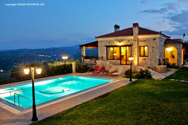 Exterior Private Pool (Night) - Traditional Luxury Villa With Private Pool & View - Chania - rentals