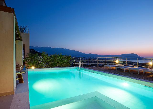 Sea VIew - Private Pool (night) - Luxury Villa with Modern Design and Private Pool - Drapanos - rentals