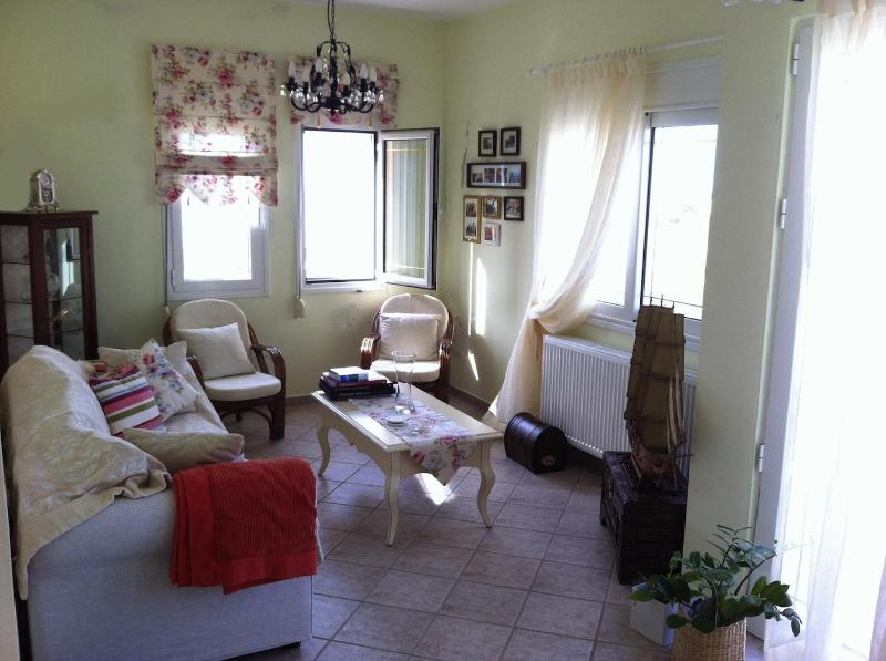 The living room with view and vintage decoration - Apartment with private pool - Agia Pelagia - rentals