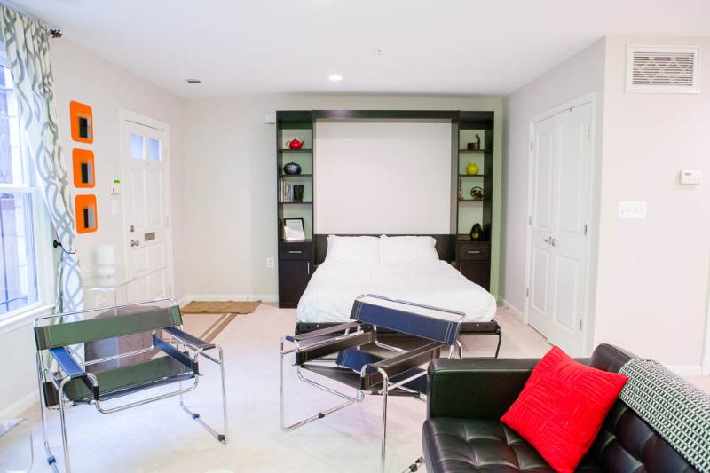 Living room with queen size Murphy bed - Sweet Suite on Capitol Hill - Washington, DC - Fairlawn - rentals
